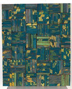 Rosalie Gascoigne  Tesseraw Y, 1990  sawn / split soft drink crates on plywood
