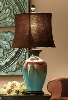 Glazed ceramic lamp Through the Country Door $80