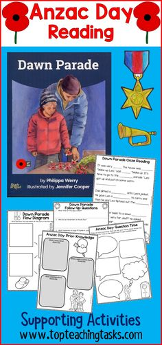 The Dawn Parade is a moving part of Anzac Day celebrations, and the 'Dawn Parade' Shared Reading big book captures this brilliantly. 11 supporting activities utilising a range of reading comprehension strategies. Print and Go. Perfect to use in the classroom, as an early finisher activity or for homework. #AnzacDayReading #AnzacDayBookStudy #AnzacDayBigBook #AnzacDayActivities
