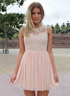 Light Pink Dress with Sheer Lace Top&Tulle Pleated Skirt - if you lengthen the body and the skirt this would be perfect!!!