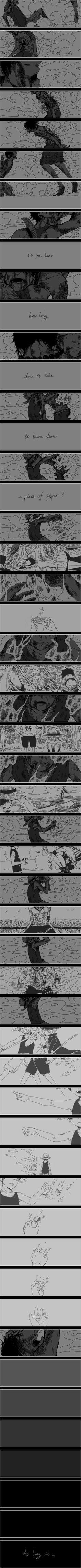 """Portgas D. Ace - Luffy. Atroce. J'ai tellement pleuré que j'ai bien failli arrêter la série... C'est vraiment injuste. Tant de mort pour """"rien""""."""