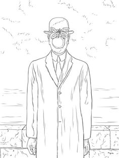 Son of Man by Rene Magritte coloring page from Rene Magritte category Select from 24848 printable crafts of cartoons nature animals Bible and many Rene Magritte, Colouring Pages, Coloring Books, Magritte Paintings, Ecole Art, Printable Crafts, Free Printable, Famous Art, Equine Art
