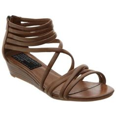 Bertie Paphos Low Wedge Strappy Sandals, Tan -- I like this style and size heel Tan Sandals Heels, Low Wedge Sandals, Low Wedges, Summer Sandals, Business Casual Womens Fashion, Giuseppe Zanotti Heels, Clearance Shoes, Comfy Shoes, Girls Accessories