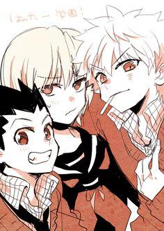 Gon, Kurapika, & Killua. Killua, you spit that cigarette out right now! You're too young!