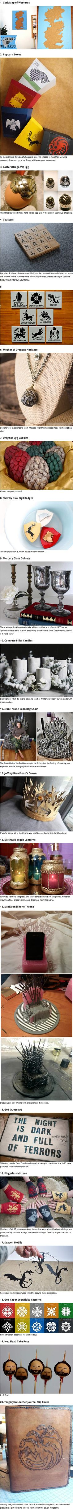 20 DIY Projects To Help Game of Thrones Fans Survive The Winter