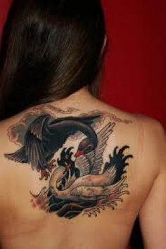 black and white swan tattoo