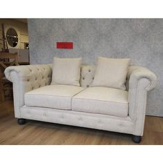 Linen Chesterfield 2 Seat Sofa (£595) ❤ liked on Polyvore featuring home, furniture, sofas, linen chesterfield sofa, brown couch, brown chesterfield sofa, chesterfield loveseat and off white sofa