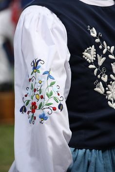 Folk Embroidery Embroidery of the regional costume from Kaszuby, Poland - Embroidery of the regional costume from Kaszuby, Poland [source]. Polish Embroidery, Folk Embroidery, Shirt Embroidery, Hand Embroidery Patterns, Cross Stitch Embroidery, Art Costume, Folk Costume, Costumes, Polish Clothing