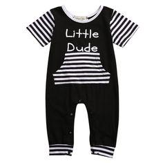 "Baby Boy's Short Sleeve Black & White ""Little Dude"" Striped One Piece Romper https://presentbaby.com"