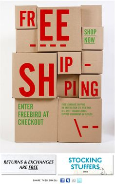 Free Shipping on stacked boxes? Bright colored text on craft boxes