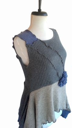 NOTE use of some wavy exposed and some regular seams.  Asymmetric Floral Sweater Vest  M medium Gray Lavender Recycled Cashmere Lagenlook Flower Eco Friendly Womens Clothing