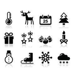 Kerstmis winter zwarte pictogrammen instellen vector