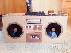 Cardboard Radio cassette player #diy #cardboard Cardboard Design, Diy Cardboard, Diy Paper, Paper Art, Paper Crafts, Radios, Diy For Kids, Crafts For Kids, 80s Theme