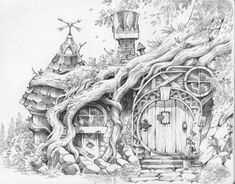 Cool Art Drawings, Art Drawings Sketches, Fantasy Drawings, Fantasy Kunst, Fantasy Art, Tree House Drawing, Midle Earth, The Hobbit, Hobbit Hole