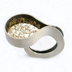 Kum-bu ring. 950 silver and fine gold wire by Arata Fuchi, Florence Italy $356