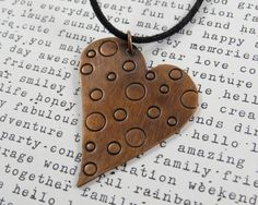 Fun Heart Necklace Copper Heart Antique by PeachberryLaneDesign