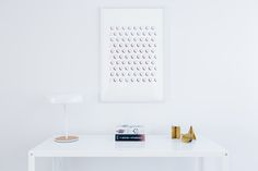Simple artwork hangs over clean white desk Interior Design Blogs, Interior Designing, Picture Frame Sizes, Picture Frames, Shadow Box Coffee Table, Old House Design, Minimal Desk, Simple Artwork, Trending Art