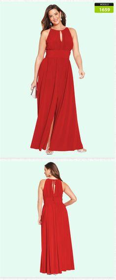 Vestido De Fiesta Noche Largo Tallas Extra Grandes 1659 - $ 1,190.00