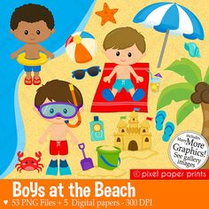 Boys at the Beach Clipart Clip Art and Digital paper set