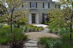 Flagstone and gravel w/ plants