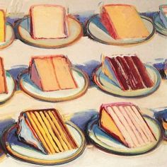 Art by Wayne Thiebaud always makes me hungry! Love this Pie Counter, 1963. Oil on canvas.