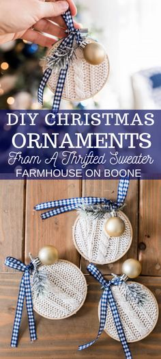DIY Ornaments For Christmas Learn how I re-purposed an old sweater to make some adorable DIY Christmas Ornaments. They take no time at all and add that farmhouse charm that works so well with the holidays. Christmas Ornament Crafts, Christmas Ornaments To Make, Holiday Crafts, Christmas Holidays, Handmade Christmas Decorations, Christmas Ideas To Make, Diy Christmas Projects, Farmhouse Christmas Ornaments Diy, Christmas Presents To Make