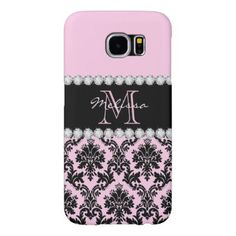 Baby Pink Cream black floral Damask diamonds Samsung Galaxy S6 Case - floral style flower flowers stylish diy personalize