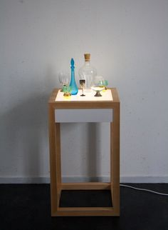 Small table with LED lighting. Small Tables, Led, Lighting, Small End Tables, Lights, Lightning, Side Tables