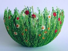 crafty string bowls! using string (dipped in wallpaper glue) on a balloon! pop the balloon when dried. by Bettie Giles