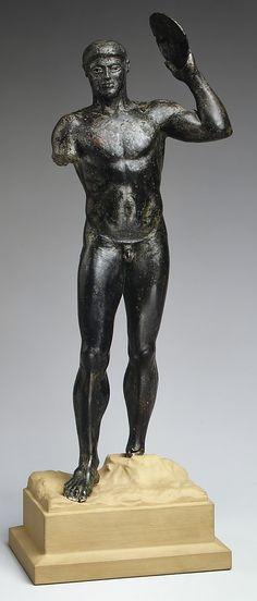 Bronze diskos thrower Period: Classical Date: ca. 480–460 B.C. Culture: Greek Medium: Bronze