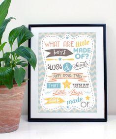 Slugs & Snails Boys Typography Print A4/A3 by JLWIllustration, £10.00