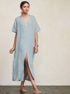< summer minimalist > – Linen Dresses For Women Casual Summer Dresses, Trendy Dresses, Elegant Dresses, Nice Dresses, Short Dresses, Dress Summer, Summer Outfits, Beautiful Dresses, Simple Dress Casual
