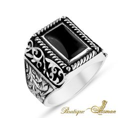 Hand Made Silver Man Ring Silver Black Rectangle Cave #jewellery #silver #oriental #fashion #jewelry #manring #manjewelry #ring #man #ottoman #hurrem #authentic #vintage #luxury