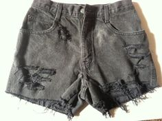 Black Destroyed High Waisted Denim Shorts with Floral Pocket Size 7. $20.00, via Etsy.