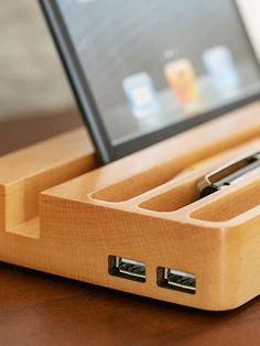 Wooden Charging Station with Two USB Ports and Desk Organizer