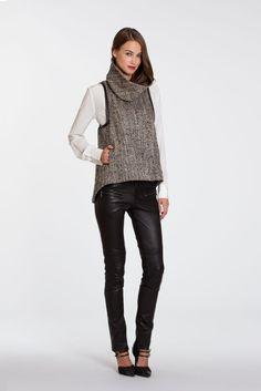 marissa webb tweed turtleneck with leather trim
