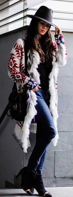 Lovely winter style with tribal oversize sweater.