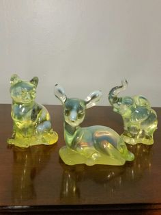 Vintage Fenton Vaseline Glass Animal Figurines