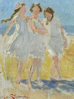 Drie meisjes op het strand van Domburg, Hendrik van Steenwijk