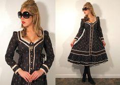Vintage GUNNE SAX DRESS 1970's Rare Design Peasant Hippie Boho Festival in Clothing, Shoes & Accessories | eBay