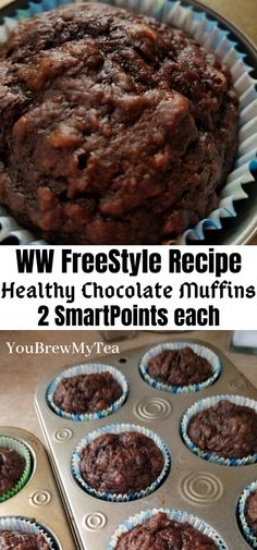 Recipes For 2 Everyone loves these Healthy Chocolate Muffins! So easy to make and only 2 SmartPoints per muffin on the WW FreeStyle Plan! A great dessert or breakfast recipe that is simple, fast, and easy! Great make ahead meal that freezes beautifully! Weight Watcher Desserts, Weight Watcher Muffins, Weight Watcher Banana Bread, Plats Weight Watchers, Weight Watchers Breakfast, Weight Watchers Diet, Healthy Recipes, Ww Recipes, Muffin Recipes