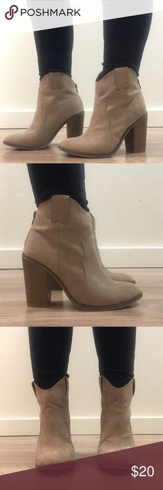 7.5 taupe booties Never been worn taupe booties with a 3.5 inch heel. Merona Shoes Ankle Boots & Booties