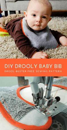 Free Baby Bib Sewing Pattern for drooly babies. Make this DIY drool-proof baby bib lined with waterproof fabric to help keep baby's clothes and skin dry while teething for less chapping. #sewing #freesewingpattern #sewingpattern #babybib #diybabygift