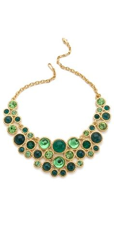 Kenneth Jay Lane Green Cabochon Bib Necklace
