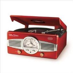 Nostalgia Electrics TT28RED Retro Turntable and Radio