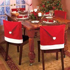 conjunto de 4 de santa silla sombrero rojo cubre la cena de la navidad conjuntos navidad silla tapa 2015 – $239.17