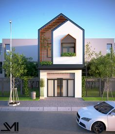 Most Popular Ideas Small House Facade Design Narrow House Designs, Modern Small House Design, Home Modern, Minimalist House Design, Tiny House Design, Modern Townhouse, Townhouse Designs, Style At Home, Modern Architecture House