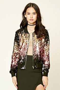 Two-Tone Rose Gold and Gold Sequin Bomber Jacket