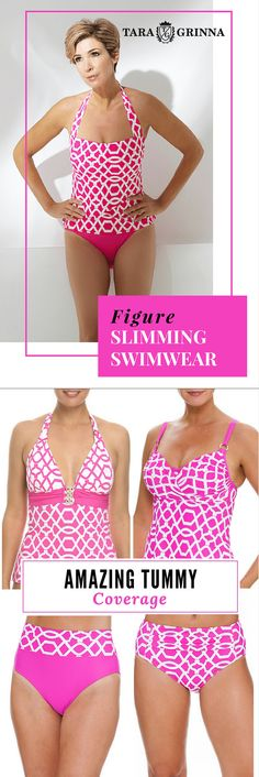 "Slimming swimsuit for tummy fit ★★★★★""So incredibly pleased I've searched for years for a swimsuit to fit my odd shaped body (very large on top, very small on the bottom) and finally a friend told me to look at Tara Grinna's suits. Perfect style and fit!"" Sarah Pink & White Tankini $98.00 Pink & White Cup Sized Tankini $110.00 Pink & White High-Rise Pant PA-213 Pink & White High-Rise Pant $79.00 Pink & White Pant $79.00 See now at http://store.taragrinna-swimwear.com/bestselling/"