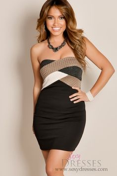 6d28cc033d Multi Tone Studded Color Block Tube Top Club Dress